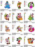 DISNEY CHRISTMAS MICKEY MINNIE MOUSE POOH GOOFY PLUTO CHARACTERS EMBROIDERY MACHINE DESIGNS