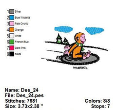 CURIOUS GEORGE EMBROIDERY MACHINE DESIGNS