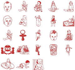 BABY RED WORK Adorable Embroidery Designs  - Set of 23