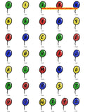 BALLOONS KIDS PARTY FONTS ALPHABETS Machine Embroidery Designs