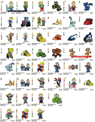 Bob The Builder Embroidery Designs Cartoon Characters