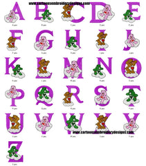 CARE BEARS ALPHABETS Embroidery Designs  - Cute Collection Set of 26 Machine Embroidery Designs