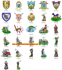 Golf Golfers Clubs Sports Machine  Embroidery Designs