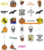 Halloween Skull Spider Trick or Treat Candy Boo Embroidery Designs