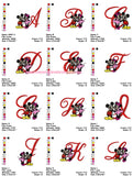 Disney Mickey Minnie Mouse Alphabets Fonts Embroidery Machine Designs