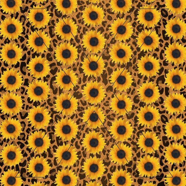 Sunflower Leopard - Printed Pattern Vinyl - Decal or HTV