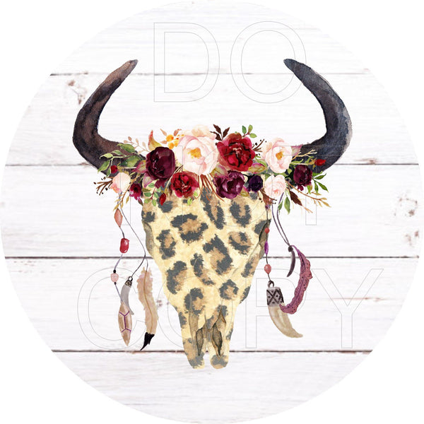 Boho Cow Skull - Round Template Transfers for Coasters