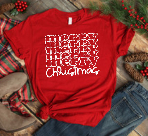 Merry Christmas Stacked Words - Screen Print Transfers for Cotton and All Colors