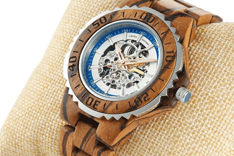 Men's Genuine Automatic Zebra Wooden Watches - Men - Accessories - Watches - Uncle Whiskey - Uncle Whiskey