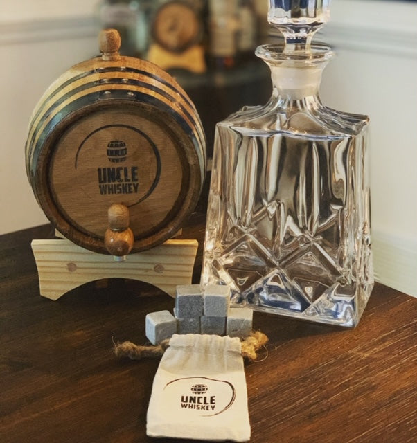 Personalized - Engravable American White Oak Aging Barrel - Barrel Aged (2 Liter, Black Hoops) - Oak Whiskey Aging Barrel - Uncle Whiskey - Uncle Whiskey