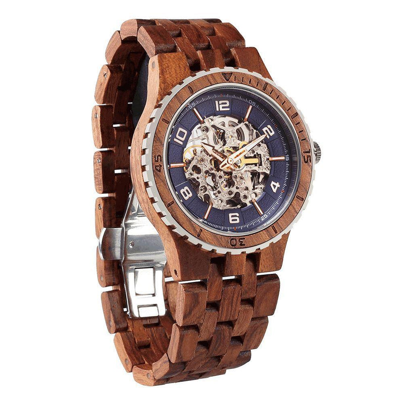 Men's Premium Self-Winding Transparent Body Kosso Wood Watches - Men - Accessories - Watches - Uncle Whiskey - Uncle Whiskey