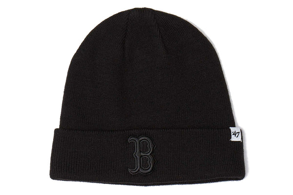 Boston Red Sox Black Raised Black Raised Cuff Knit Beanie