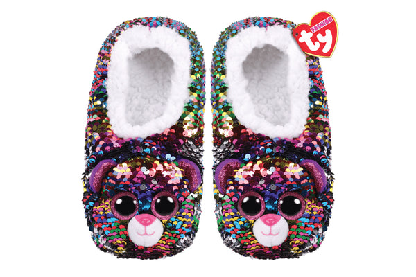 Dotty Leopard Reversible Sequin Slippers