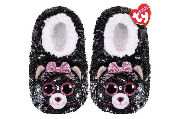 Kiki Cat Reversible Sequin Slippers