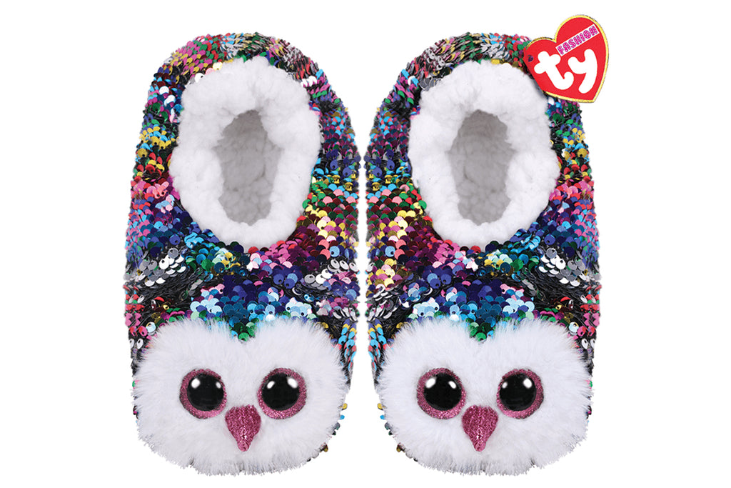 Owen Owl Reversible Sequin Slippers
