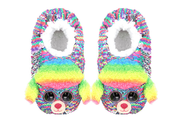 Rainbow Reversible Sequin Poodle Slippers