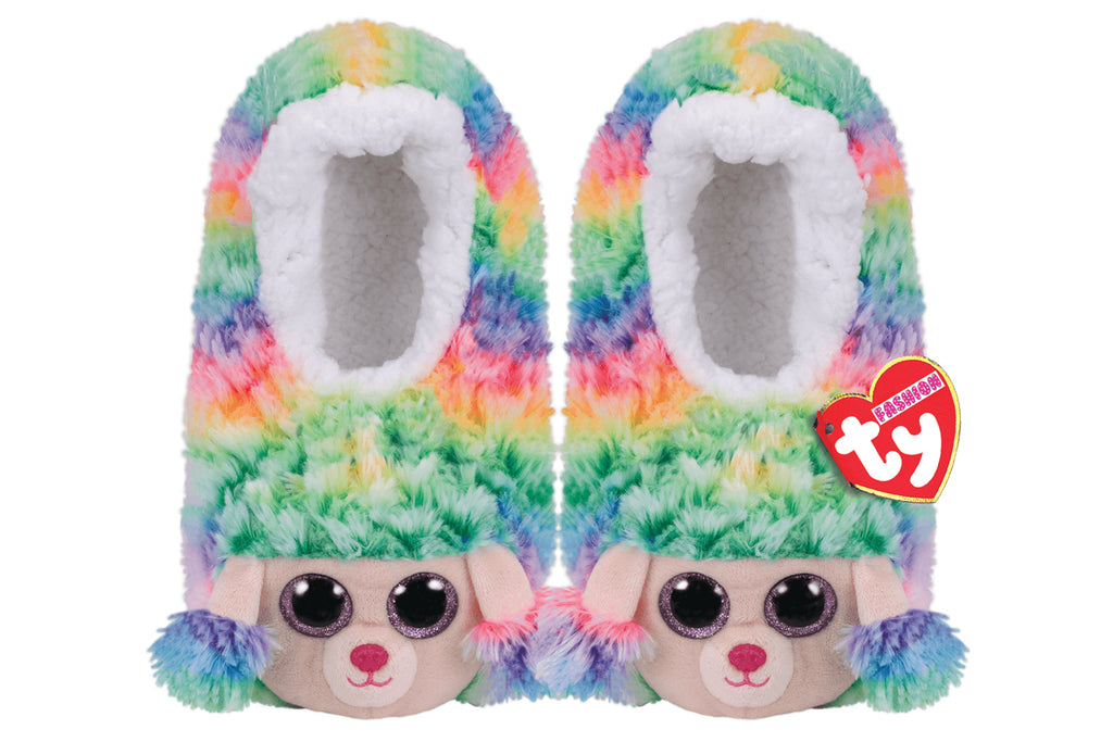 Rainbow Poodle Slippers