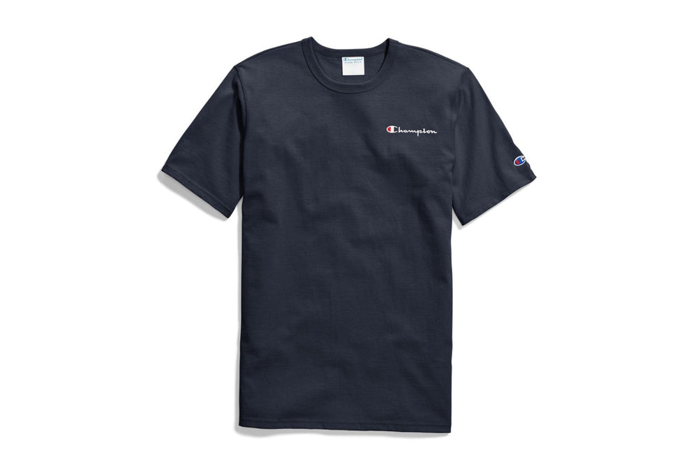 Men's Navy Champion Embroidered Script Logo T-Shirt