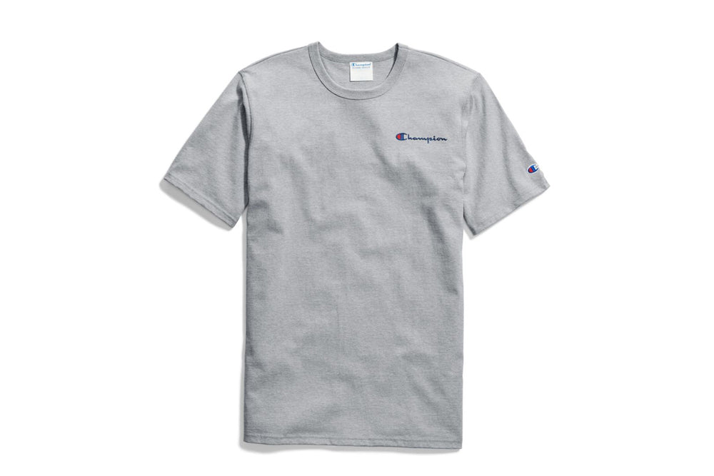 Men's Oxford Gray Champion Embroidered Script Logo T-Shirt