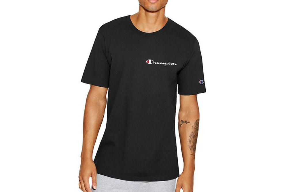 Men's Black Champion Embroidered Script Logo T-Shirt