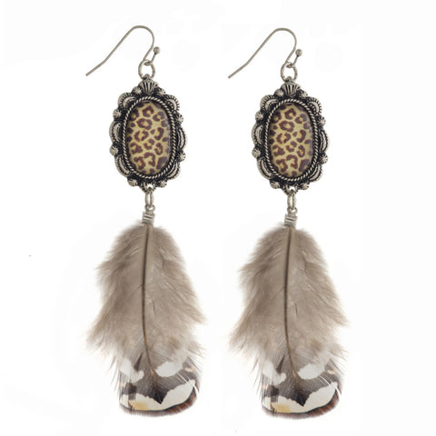 Fancy Stone and Feather Earrings
