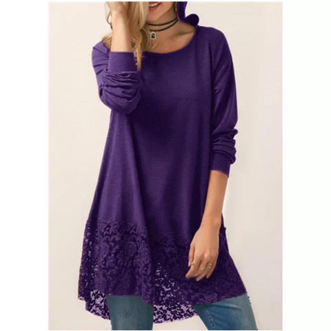 Purple Lace Bottom Hoodie