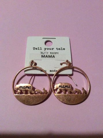 Mama Bear Copper Earrings