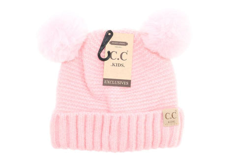 Kids Super Soft Solid Double Pom CC Beanie