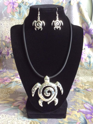 Sea Turtle Necklace and Earring Set