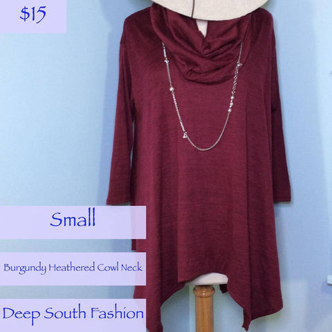 Burgundy Heathered Cowl Neck Sweater