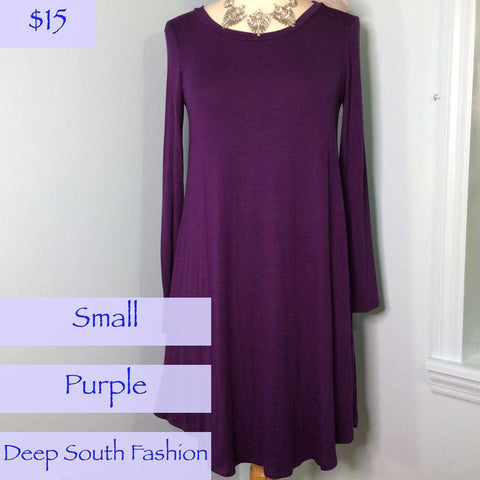 Long Sleeve Purple Swing Dress