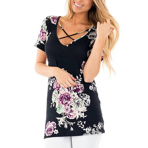 Criss Cross Front Floral Tee