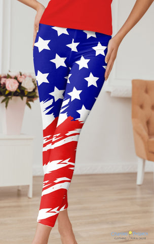 Red, white & Blue Capri Leggings