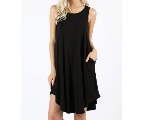 Premium Sleeveless Swing Dress with Pockets