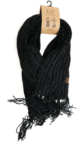 Solid Ribbed Chenille CC Scarf with FringeSolid Ribbed Chenille CC Scarf with Fringe