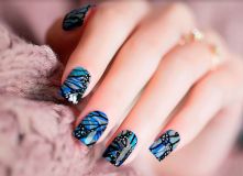 Blue Butterfly Premium Nail Polish Strips