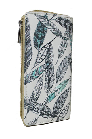 Blue Feathers Zip Around Wallet