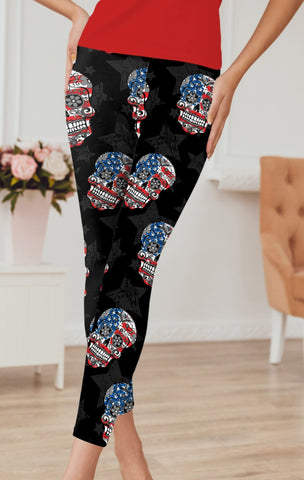 Flag Skull Capri Leggings