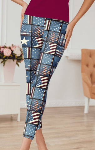 Patchwork Flag Capri Leggings