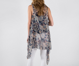 Navy Blue Paisley Vest Cover Up
