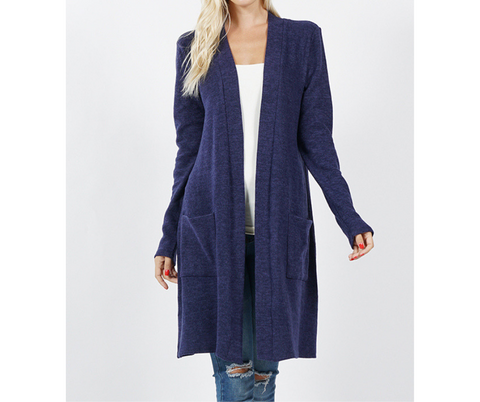 Brushed Melange Cardigan