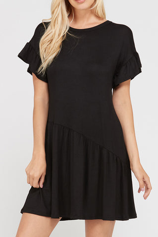 Solid Black Baby Doll Dress