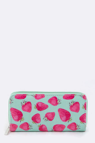 Strawberry Zip Around Wallet