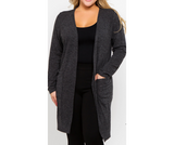 Plus Size Charcoal Long Sleeved Cardigan