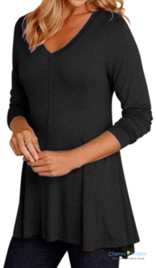 Solid Black Perfect V Neck Long Sleeve Top