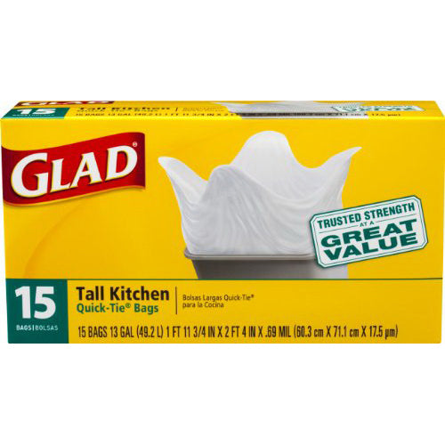 Glad Quick Tie Tall Kitchen White 13 gl 12/15ct