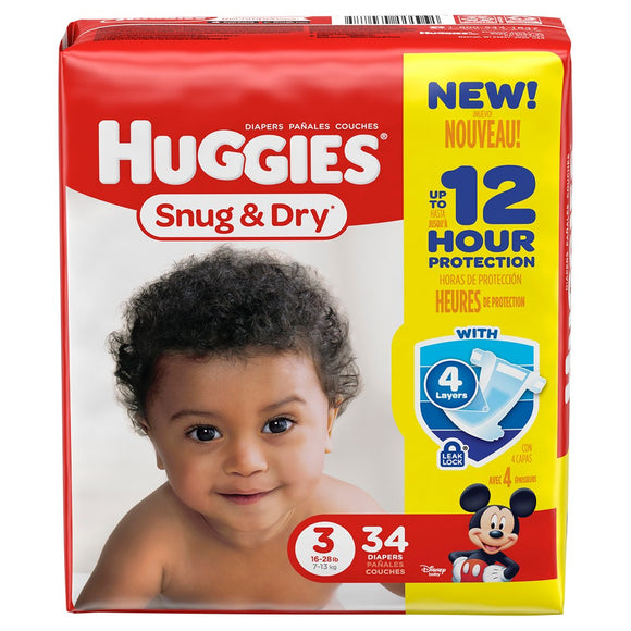 Huggies Jumbo Snug & Dry #3/ 4/ 34 ct