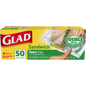 Glad Zipper Bags Sandwich 12/ 50ct