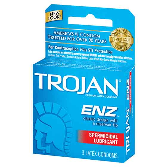 Trojan Condom Dark Blue Spermicidal 6/ 3 ct