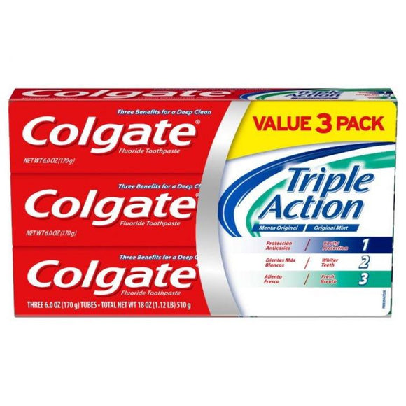 Colgate Toothpaste Triple Action 3pk/ 6/ 6 oz